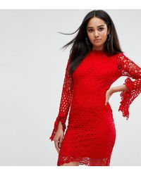 Missguided - Exclusive High Neck Crochet Long Sleeve Mini Dress - Lyst