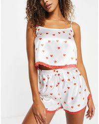 I Saw It First Satin Lace Trim Cami Top And Short Pyjama Set - Pink