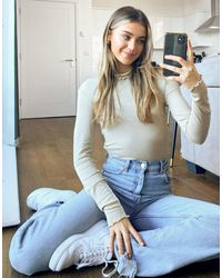 Pieces Annie Long Sleeve Glitter Roll Neck Top - Grey