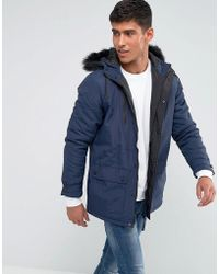 Tokyo Laundry Parka Jacket With Faux Fur Hood - Blue
