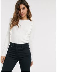 Oasis Frill Front Jumper - White