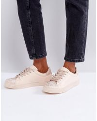 Lipsy - Trainers With Rose Gold Snake Print Detail - Lyst