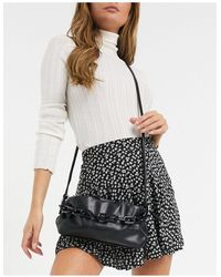 Glamorous Slouchy Pillow Adjustable Cross Body Bag With Resin Chain Link Handle - Black