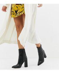 PrettyLittleThing Faux Croc Block Heel Boots - Black