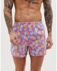 ASOS Woven Boxer With Love Heart Print - Multicolor