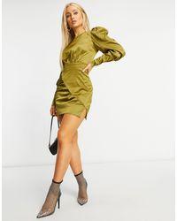 Naanaa Атласное Платье Цвета Хаки С Длинными Рукавами -зеленый