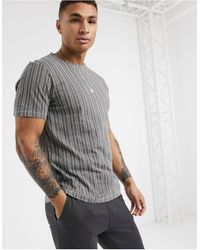 Another Influence Vertical Stripe T-shirt - Grey