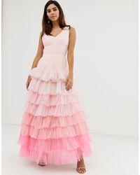 Naf Naf Princess Mesh Layer Ombre Dress - Pink