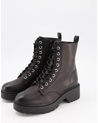 New Look - Chunky Flat Lace Up Boot - Lyst