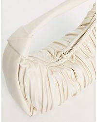 Mango Borsa da spalla a pieghe color écru - Bianco