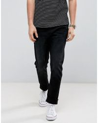 Casual Friday - Slim Fit Jeans In Black With Distressing - Lyst