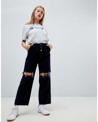 ASOS Cord Pants With Detachable Metal Suspenders - Blue
