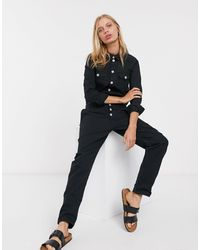 ONLY Bety Long Sleeve Button Through Boilersuit - Black