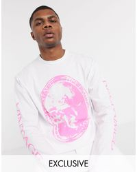Reclaimed (vintage) Inspired Long Sleeve T-shirt With Art Print - White