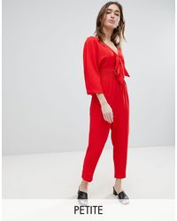Lost Ink Jumpsuit With Tie Front And Shirred Waist
