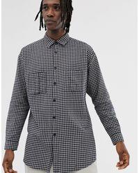 ASOS Oversized Super Longline Check Shirt - Blue