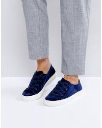 London Rebel | Lace Up Velvet Sneaker | Lyst