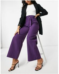 UNIQUE21 Belted High Waisted Trousers - Purple