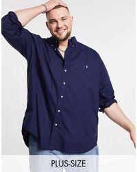 Polo Ralph Lauren - Темно-синяя Рубашка Из Эластичного Поплина С Логотипом Игрока В Поло Big & Tall-темно-синий - Lyst