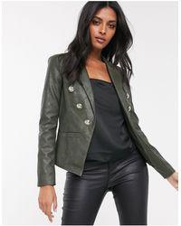 River Island Куртка Хаки В Стиле Милитари Из Искусственной Кожи -зеленый