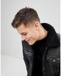 Mango - Man Fleece Lined Denim Jacket In Black - Lyst
