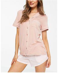Lindex Розовый Пижамный Топ С Отложным Воротником Из Эко Вискозы Exclusive Cissi-розовый Цвет