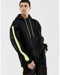 ASOS Co-ord Hoodie In Mesh With Neon Highlights And Side Stripe - Black
