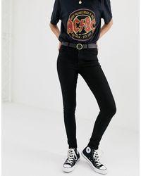 Pull&Bear Skinny Jeans Met Halfhoge Taille - Zwart