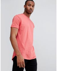 Bershka - Join Life Longline T-shirt In Red - Lyst
