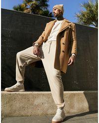 ASOS - Бежевое Пальто Из Ткани С Добавлением Шерсти С Подкладкой Из Искусственного Меха - Lyst