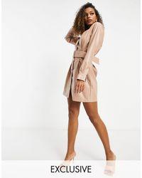 Missguided Pu Mini Dress With Belt - Natural