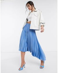 Stradivarius Pleated Midi Skirt With Button Detail - Blue