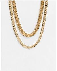 TOPSHOP Золотистое Ожерелье Из Нескольких Цепочек С Массивными Звеньями -золотистый - Металлик