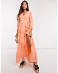 Y.A.S Wrap Maxi Dress With Open Back - Orange
