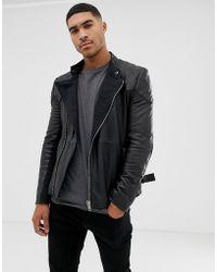 Bolongaro Trevor Quilted Leather Biker Jacket - Black