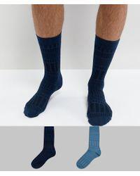 ASOS - Socks In Geo Texture 2 Pack - Lyst