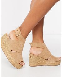 River Island Open Toe Wide Fit Wedge Sandals - Natural