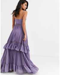 True Decadence Cami Strap Tiered Maxi Dress With Tie Front - Purple