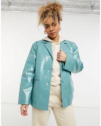 Weekday Zana Co-ord Short Coated Jacket - Blue
