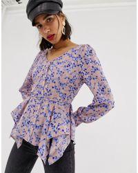 Lost Ink Blusa con estampado floral romántico - Rosa
