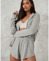 Missguided Пижамный Комплект Серого Цвета Из Топа На Пуговицах И Шорт -серый