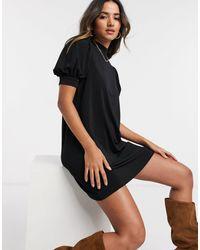 Mango Volume Sleeve Mini Smock Dress - Black