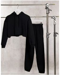 Daisy Street Ultimate Cropped Hoodie And Trackies Set - Black