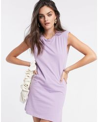 Stradivarius Padded Shoulder Dress - Purple