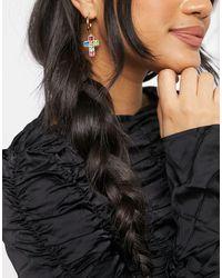 TOPSHOP Hoop Earrings With Rainbow Crystal Drop Cross - Multicolour
