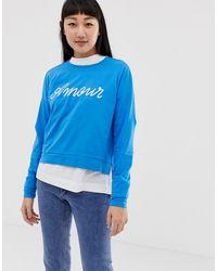 ONLY Sweatshirt Met Slogan - Blauw