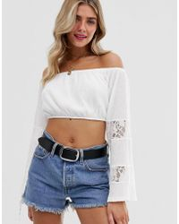 ba507b01c97 ASOS - Bardot Crop Top In Crinkle With Wide Lace Insert Sleeves - Lyst