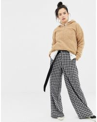 Daisy Street - Wide Leg Pants In Grid Check - Lyst