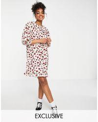Miss Selfridge Heart Print Collared Mini Dress - White