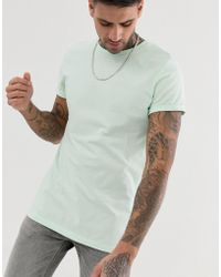 ASOS - Crew Neck T-shirt With Roll Sleeve In Green - Lyst